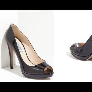 Prada patent peep-toe, Size 37.5